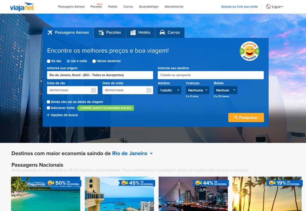 Viajanet - veja como pesquisar preços de voos para todo o Brasil